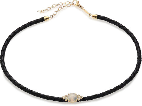 jacquie aiche gold black moonstone diamond 14k yellow gold leather braided choker necklace
