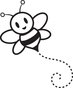 bumble bee buzzing around cartoon in black and white 0071 0905 2918 5958 SMU