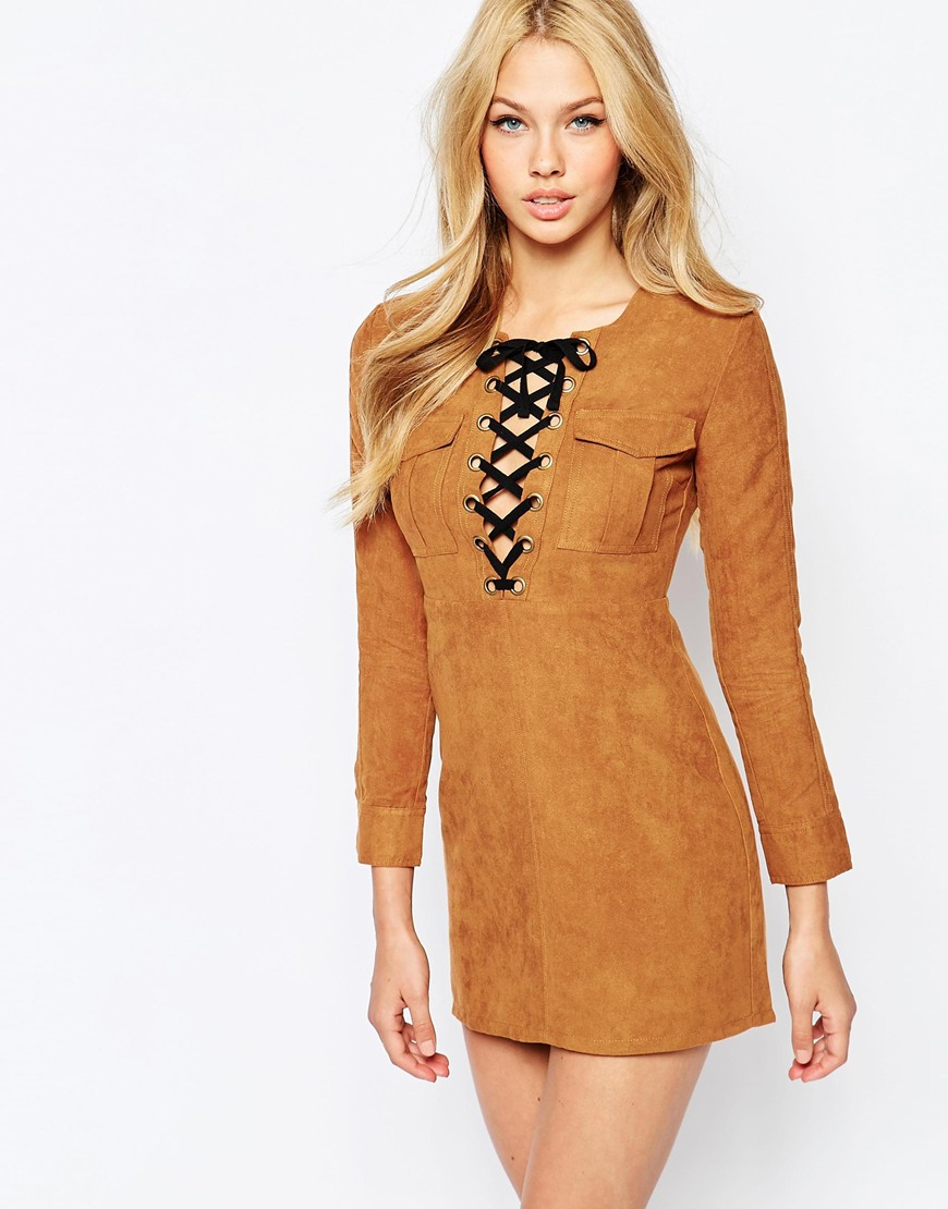 Bardot Suedette Dress With Lace Up Front